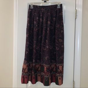 Vintage Sag Harbor Floral & Fruit Midi Skirt